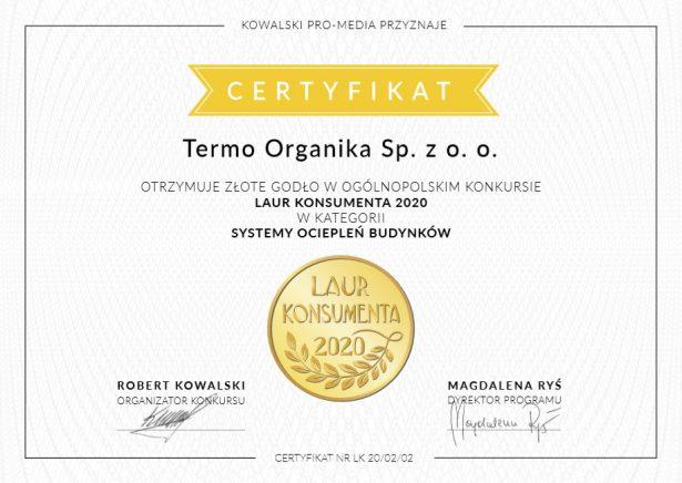 Laur Konsumenta 2020 Termo Organika, systemy ociepleń