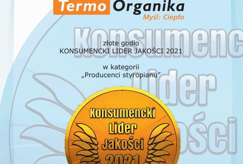 Złote Godło Konsumecki Lider Jakości 2021 dla Termo Organiki